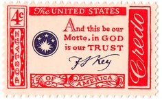postage, vintage, vintage postage, vintage stamps, stamps, memorial day, america, american, american pride, credo, amercian credo stamps, american credo postage, 1960, and this be our motto in god we trust, usa, u.s.a, united states of america