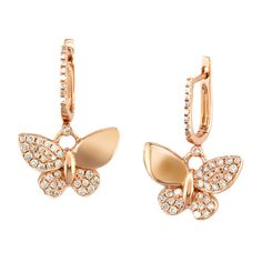 Effy Jewelry Effy 14K Rose Gold Diamond Butterfly Earrings, 0.66 TCW ($3,150) ❤ liked on Polyvore featuring jewelry, earrings, butterfly jewelry, diamond earrings, 14k earrings, 14k jewelry and 14 karat gold earrings