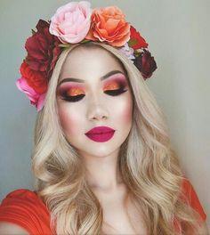 Olhos abóbora,preto e rosa | Boca rosa ♡