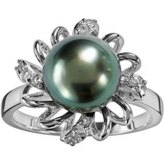 Sterling Silver Tahitian Cultured Pearl and White Topaz Flower Ring (340 RON) ❤ liked on Polyvore featuring jewelry, rings, black, freshwater pearl ring, round ring, sterling silver jewelry, white topaz sterling silver ring and freshwater pearl jewelry