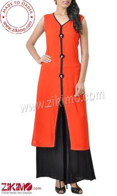Enthralling Orange and Black Georgette Pakistani Suit