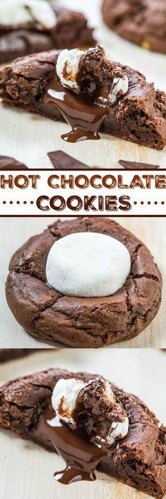 31 Delicious Things To Cook In December/Holiday recipes Christmas Hot Chocolate Cookies - Rich chocolate cookies topped with a hunk of melted dark chocolate and toasted marshmallows! Best hot chocolate youll ever have! Hot Chocolate Cookies, Chocolate Cookie Recipes, Chocolate Chips, Lindt Chocolate, Chocolate Crinkles, Chocolate Smoothies, Chocolate Mouse, Chocolate Shakeology, Cocoa Cookies