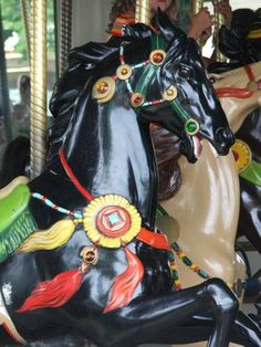 Beautiful, Sleek Black Carousel Horse from Carousel Animal Project - WetCanvas