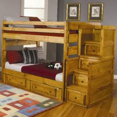 Coaster Furniture Wrangle Hill Collection Full Over Full Bunk Bed with Options for Under Bed Storage and Stairway Chest