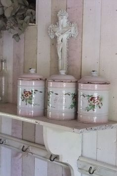 French enamelware canisters - hard to find with the embossed flowers and pink shading