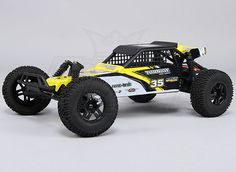 Equipped with a 35A brushless system, oil filled shocks, and fully adjustable suspension, this 1/10 2WD Desert Buggy is ready to tear up your local track!    The Turnigy 2WD Desert Racing Buggy performs just as good as it looks. Its 3300KV brushless motor provides plenty of torque,and an impressive top speed.On a 2S lipo, it will pull the front wheels off the ground easily when running on pavement, but this machine really shows its capabilites off road,
