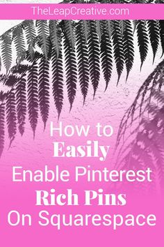 If you've been on Pinterest for a while you probably noticed there are pens that look completely different from any other pins  on Pinterest - they display the post title and the metadata  involved with the post. Today I'm going to show you how  and why you want to enable Rich pins on your site. If you're using Squarespace, which come on, you probably are if you're reading this post, you actually have the easiest way possible to enable rich pins. No installing widgets or plugins, no messing…