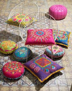 Embroidered Gypsy Caravan Cushions - Cushions & Throws - Home Accessories Gypsy Style, Bohemian Style, Bohemian Design, Bohemian Lifestyle, Modern Bohemian, Bohemian Gypsy, Hippie Style, Boho Chic, Boho Pillows