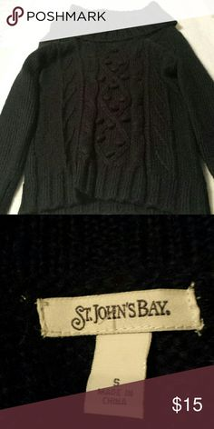 Black Cowl Neck Sweater St. John's Bay black cowl neck sweater. Size small. Long sleeve. Cable knit pattern down the front. Hits at the natural waist line. So cute with jeans or trousers. St. John's Bay Sweaters Cowl & Turtlenecks