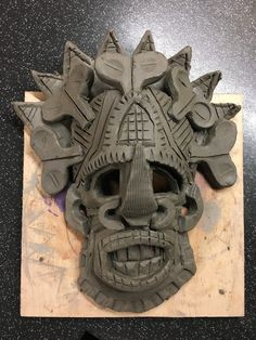 African clay mask sample by Nicky Heard African Masks, African Art, African Pottery, Clay Masks, Clay Projects, Ceramic Pottery, Art Lessons, Project Ideas, Middle School