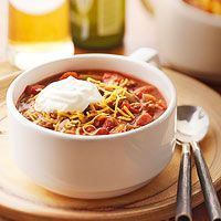 Chili.  This was great!  So simple, so quick, so inexpensive and so yummy and warm in my tummy on a cool fall evening.  This will be a regular on our dinner menu during the colder months.  Served it up with the recommended garnishes and some crusty wholewheat and seeded bread.