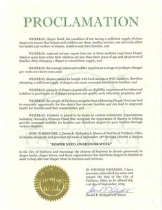 Fairborn, OH - Mayoral proclamation recognizing Diaper Need Awareness Week (Sept. 28 - Oct. 4, 2015) #DiaperNeed www.diaperneed.org