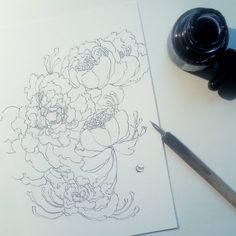 """Mi piace"": 107, commenti: 1 - Inès Carratié (@nini_peony) su Instagram: ""Work in progress with my favortite pattern : Peony Flowers for a postcard. Travail en cours sur une…"""