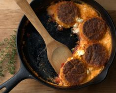 Tomato Cobbler with Cornmeal Biscuits and Goat Cheese ♥ AVeggieVenture.com.