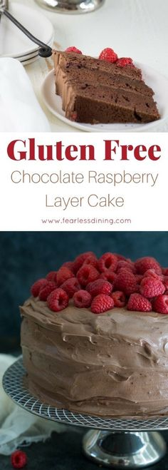This easy gluten free chocolate raspberry layer cake makes an awesome birthday cake. Chocolate layer cakes are so good for a party. This cake is huge and feeds a crowd. How to make a gluten free chocolate cake with chocolate buttercream frosting. via @fearlessdining