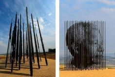 ♥ Monument dedicated to Nelson Mandela, Howick, South Africa  Fifty steel columns have been used in this structure