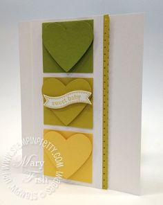 SUMMER STARFRUIT:  It reminds me of retired Stampin' Up! color Kiwi Kiss with a squeeze of lemon.  From top to bottom:  Lucky Limeade, Summer Starfruit, Daffodil Delight.  SNEAK PEEK:  Don't you love the Itty Bitty Banners Stamp Set (Wood-Mount 125255, Clear-Mount  126257) and coordinating Bitty Banners Framelits (129267).  Both will be available June 1.  By Mary Fish