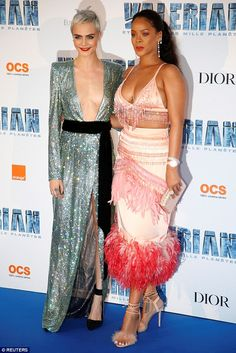 Two's company:Rihanna caught the eye at the Valerian and The City of a Thousand Planets premiere in La Plaine-Saint-Denis, Paris, on Tuesday with Cara Delevingne
