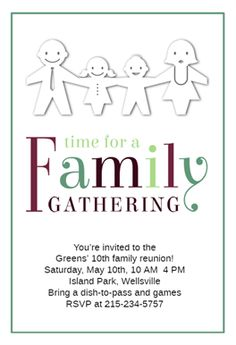 Time for a Family Gathering - Free Family Reunion Invitation Template | Greetings Island