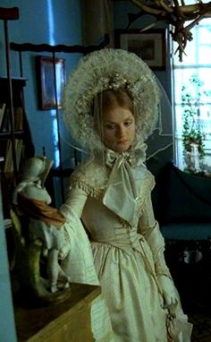 """Isabelle Huppert as Marguerite Gautier in """"La Dame aux Camélias"""" The original 'Marguerite' was distinctive in her use of white among the more colourful courtesans of Paris Theatre Costumes, Movie Costumes, Cool Costumes, Isabelle Huppert, Charlotte Rampling, Historical Costume, Historical Clothing, Nathalie Portman, Lolita"""