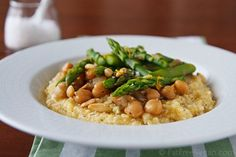 Polenta with Lemony Asparagus and Chickpeas: Get ready for asparagus season with this delicious vegan dish!