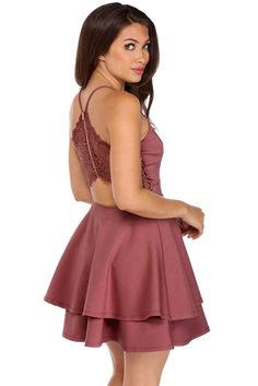 "<p>Live your wildest dreams tonight! This beautiful dress features a V neckline, thin shoulder straps, a sheer lace back detail with an exposed gold zipper, an exposed lower back, a thick waistband and flirtatious double layer skater skirt.</p>  <p></p>  <p><em>Model is 5'7"" with a 32"" bust, 25"" waist and 36"" hips. She is wearing a size small.</em></p>"