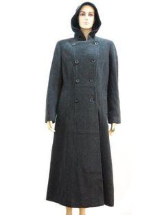 Women's Long Wool Coat with Hood Charcoal Black-large Bust 40'' Hima. $129.00