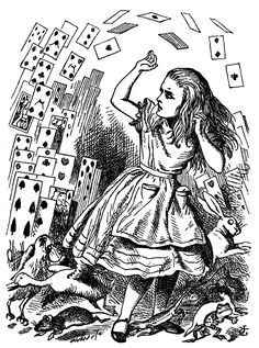 free printable vintage chilrens book  | Book illustration, 'pack of card,' Alice in wonderland, 1865