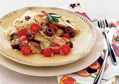 Chicken-Olive Sauté http://www.prevention.com/weight-loss/flat-belly-diet/flat-belly-diet-recipes-healthy-chicken-dinner-recipes/slide/2
