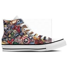 Marvel Hero High Top Sneakers | Stuff to Buy | Pinterest ❤ liked on Polyvore featuring shoes and sneakers