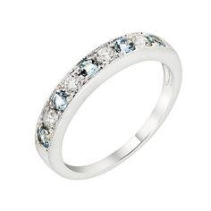 Carat Weight TWT 0.25 CT. CS 0.30 CT. Diamond Quality SI1 - SI2 GH Diamond Count 4 x 2.20mm Round Metal Type 14k White Gold Gemstone AA Genuine Aquamarine, Round Gemstone Count 5 x 2.20mm Round Ring T