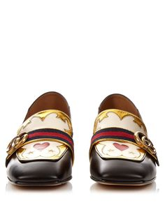 Peyton Texas-Heart leather loafers | Gucci | MATCHESFASHION.COM