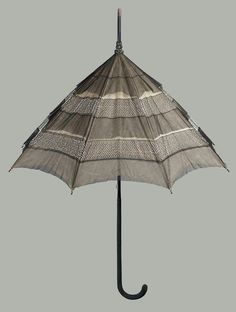 probably America - Parasol - Black silk tulle in three tiers alternating with two rows of white beads; sheer white silk lining. White Silk, Black Silk, Black Velvet, Museum Of Fine Arts, White Beads, Tulle, Handle, American, Beadwork