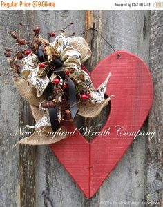 Rusty Hearts Country French Wreath Rustic Valentines Decor Country