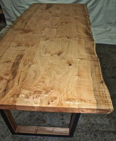 Items similar to Live edge Maple Table with steel base on Etsy Live Edge Furniture, Walnut Slab, Live Edge Table, Farmhouse Table, Natural Wood, Tables, House Ideas, Dining Table, Cabin