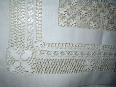 Exceptionally nice Victorian drawnwork linen tablecloth.  Search The Gatherings Antique Vintage for antique and vintage table linens. http://www.the-gatherings-antique-vintage.net