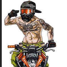 Badass Motorcycle Artwork by Scaronistefano Badass Motorrad-Grafik durch Scaronistefano Stunt Bike, Motorcycle Tattoos, Motorcycle Art, Dirt Bike Tattoo, Moto Enduro, Duke Bike, Ktm Duke, Gp Moto, Motorcross Bike