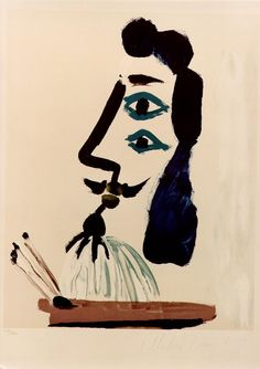 Painter and his palette, 1967, Pablo Picasso Size: 43.8x55 cm Medium: oil on canvas