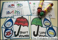 Rainy Day vowel sort and bingo dab! Students will match the picture on the raindrop to either the short vowel umbrella or the long vowel umbrella.