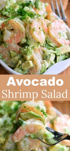 The BEST Avocado Cold Shrimp Salad. This shrimp salad is made with delicious boiled shrimp, fresh avocado, fresh dill week, green onions, and some celery for added crunch. #shimp #salad #summerrecipes #easyrecipe