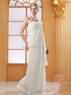 Empire One Shoulder Chiffon Floor-length Draped Wedding Dresses