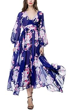 e11f9f855a Engood Womens Sexy V-neck Long Sleeves Floral Printed Slim Fit Maxi Long  Beach Holiday