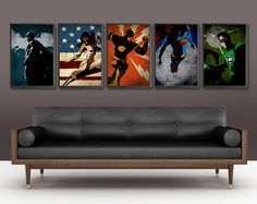Justice League Poster Set - 5 Posters. $50, via Etsy... OMG I love this one even more for my hubby :)