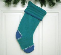 Handmade Christmas Stocking from Green and Blue Felted Recycled Wool Sweater (no.368)