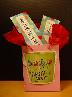 "Fill your teacher's bucket with ""thank yous!"" This is an easy Teacher Appreciation gift idea from the entire class.  All you need is a gift bag, some tissue paper, CTP's 6"" Buckets Designer Cut-Outs, sticker letters, and colorful name plates for the students to write ""thank you"" messages."