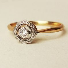 Edwardian Diamond Halo Ring Antique Diamond and 18k by luxedeluxe
