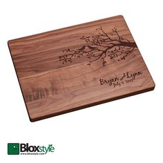 Personalized/Engraved Cutting Board with Tree & Bird Design, Personalized Wedding Gift, Custom Cutting Board by Bloxstyle on Etsy https://www.etsy.com/listing/166544606/personalizedengraved-cutting-board-with