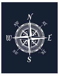 Nautical compass art print Modern nursery art by EEartstudio