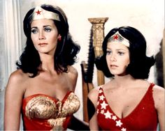 """Lynda Carter as Wonder Woman and Debra Winger as her sister Druscilla from the ABC series episode """"Wonder Woman Goes To Hollywood"""""""