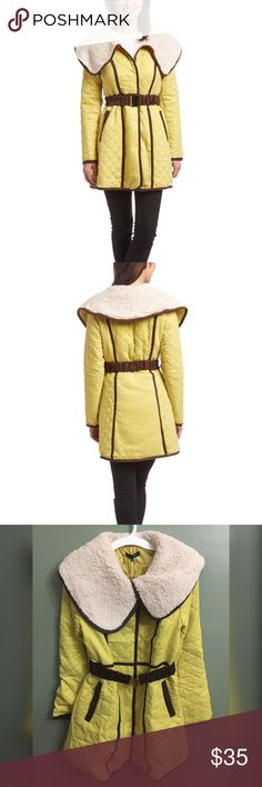 "NWT Yellow Faux Shearling Quilted Trench Coat, L A cozy oversize collar and contrast trim have eye-catching appeal, while the stretch belt shapes this warm trench to create a flattering outline. Measures approximately 36"" in length. 100% polyester Dry clean Imported Ryu Jackets & Coats Trench Coats"